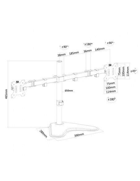 """Newstar FPMA-D550DD 81.3 cm (32"""") Vapaasti seisova Musta Newstar FPMA-D550DDBLACK - 3"""