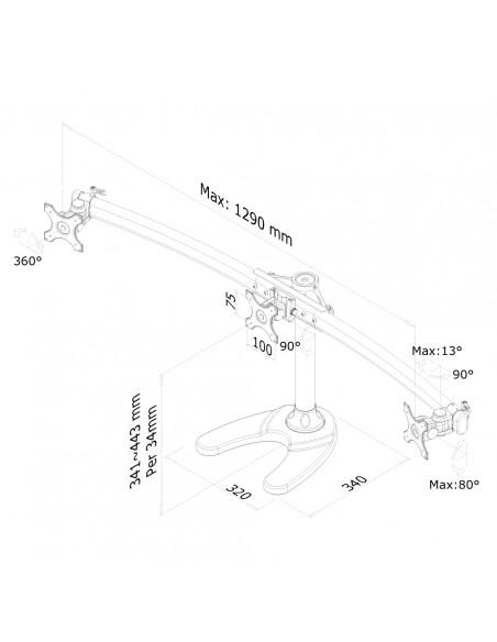 """Newstar FPMA-D700DD3 monitorin kiinnike ja jalusta 68.6 cm (27"""") Musta Newstar FPMA-D700DD3 - 3"""