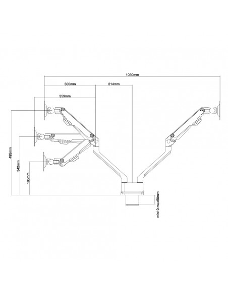 """Newstar FPMA-D750D 81.3 cm (32"""") Puristin/Läpipultattu Musta Newstar FPMA-D750DBLACK - 3"""