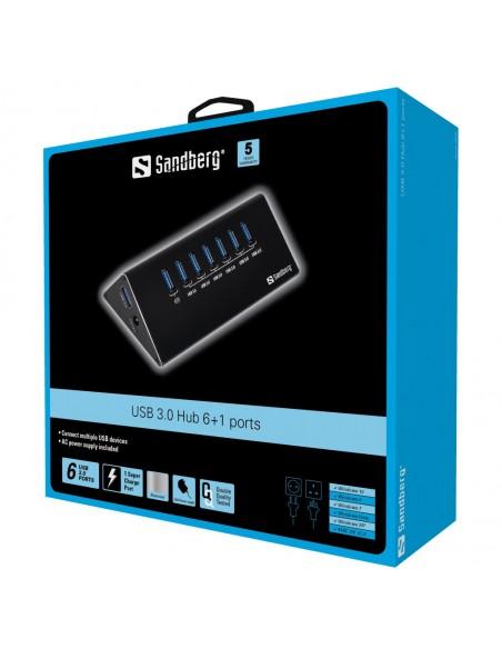 Sandberg USB 3.0 Hub 6+1 ports 3.2 Gen 1 (3.1 1) Micro-B 5000 Mbit/s Musta Sandberg 133-82 - 2