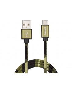Sandberg USB-C Green Camouflage 1m USB-kablar USB A C Kamouflage Sandberg 441-14 - 1