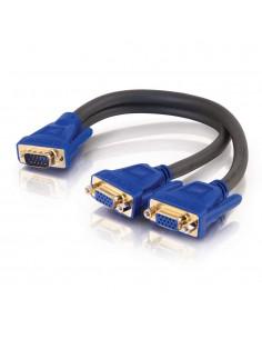 C2G Ultima HD15 Male to Dual Female SXGA Monitor Y-Cable DVI-kabel 0.3 m 2 x DVI-I Svart, Blå C2g 81174 - 1