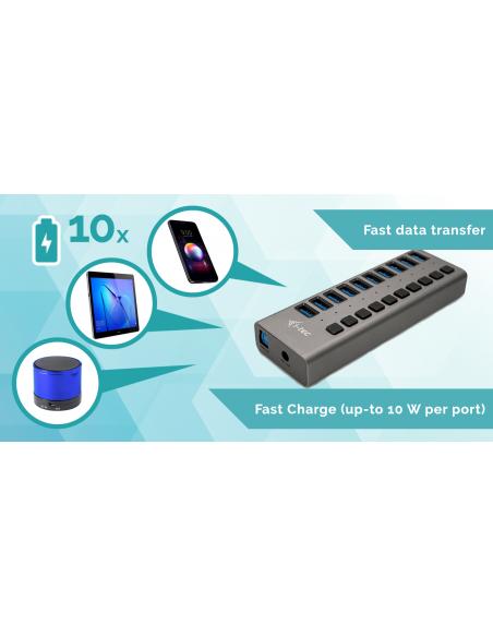 i-tec U3CHARGEHUB10 mobiililaitteen laturi Harmaa Sisätila I-tec Accessories U3CHARGEHUB10 - 4