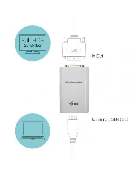 i-tec Advance USB3HDTRIO USB grafiikka-adapteri 2048 x 1152 pikseliä Valkoinen I-tec Accessories USB3HDTRIO - 6
