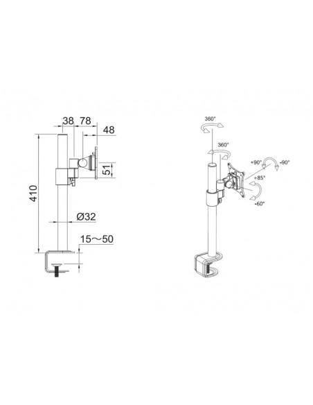 """Multibrackets 5822 monitorin kiinnike ja jalusta 76.2 cm (30"""") Puristin/Läpipultattu Musta Multibrackets 7350073735822 - 6"""