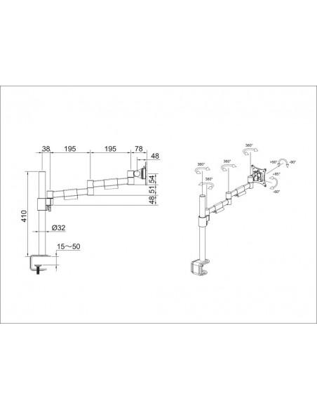 """Multibrackets 5846 monitorin kiinnike ja jalusta 76.2 cm (30"""") Puristin/Läpipultattu Musta Multibrackets 7350073735846 - 5"""