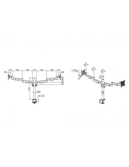 """Multibrackets 5853 monitorin kiinnike ja jalusta 76.2 cm (30"""") Puristin/Läpipultattu Musta Multibrackets 7350073735853 - 6"""