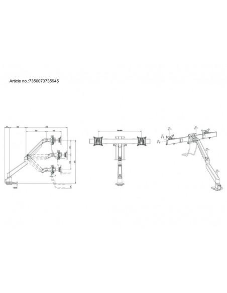 Multibrackets M VESA Gas Lift Arm Single White w. Duo Crossbar Multibrackets 7350073735945 - 11