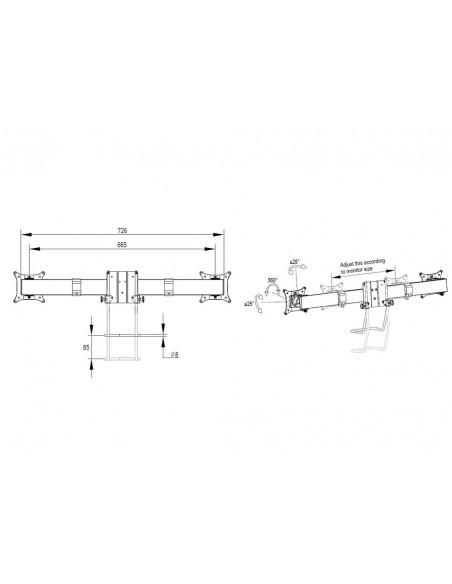 Multibrackets M VESA Gas Lift Arm Single Black HD w. Duo Crossbar Multibrackets 7350073735952 - 12