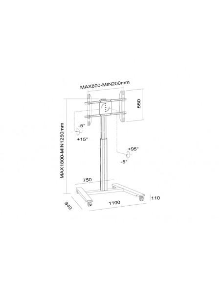 Multibrackets M Motorized Display Stand Wheelbase Silver Multibrackets 7350073736096 - 21