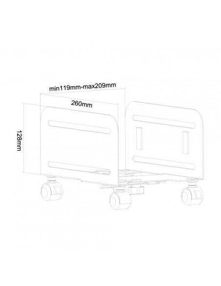 Newstar CPU-M100 Keskusyksikköteline pyöräalustalla Musta Newstar CPU-M100BLACK - 9