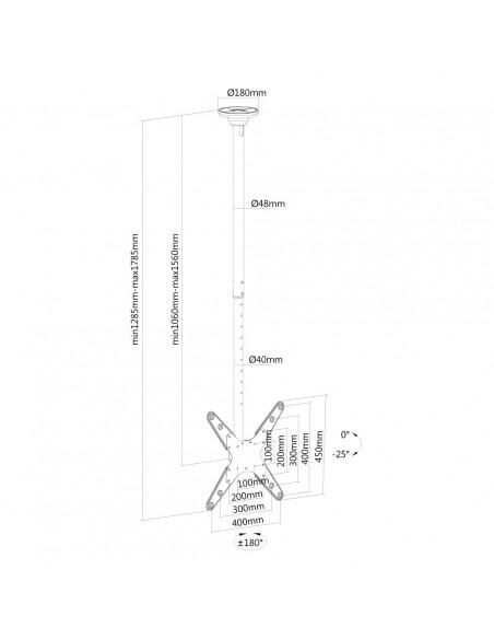"""Newstar FPMA-C340 190.5 cm (75"""") Musta Newstar FPMA-C340BLACK - 3"""
