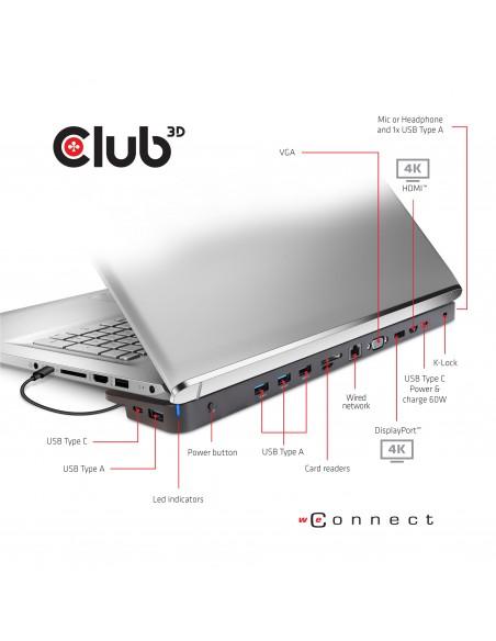 CLUB3D USB TC3.2 Gen 1 Trip dyn PD C60W-100W Telakointi 3.2 (3.1 1) Type-C Musta Club 3d CSV-1564 - 3