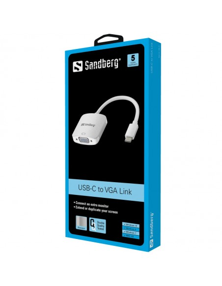 Sandberg USB-C to VGA Link USB Type-C (D-Sub) Gjuten aluminium, Vit Sandberg 136-13 - 2