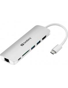 Sandberg USB-C Dock HDMI+LAN+SD+USB,61W USB 3.2 Gen 1 (3.1 1) Type-C 5000 Mbit/s Harmaa Sandberg 136-18 - 1