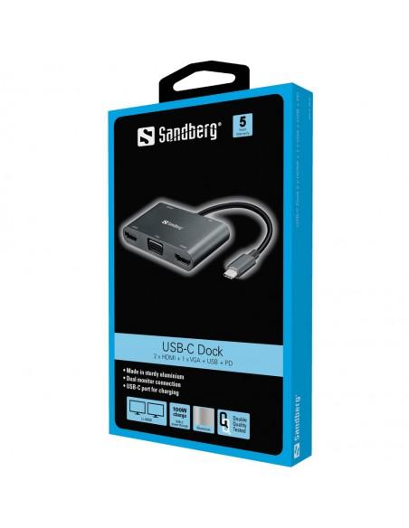 Sandberg USB-C Dock 2xHDMI+1xVGA+USB+PD Sandberg 136-35 - 2