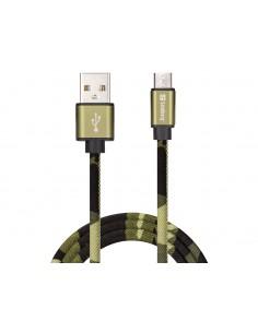 Sandberg MicroUSB Green Camouflage 1m USB-kaapeli USB A Micro-USB Maastoväri Sandberg 441-15 - 1
