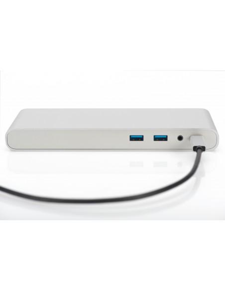 Digitus DA-70864 kannettavien tietokoneiden telakka ja porttitoistin Langallinen USB 3.2 Gen 1 (3.1 1) Type-C Hopea Assmann DA-7