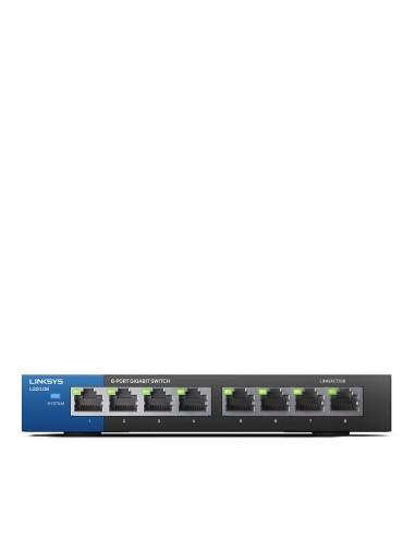 Linksys LGS108 Hallitsematon Gigabit Ethernet (10/100/1000) Musta, Sininen Linksys LGS108-EU-RTL - 1