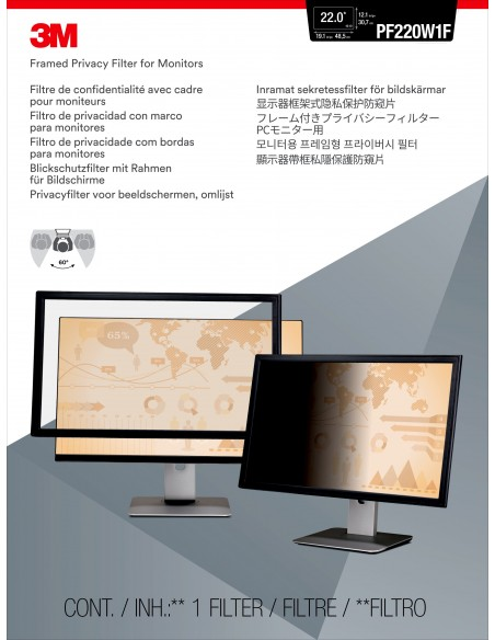 """3M Framed Privacy Filter for 22"""" Widescreen Monitor (16:10) 3m 7000059523 - 2"""