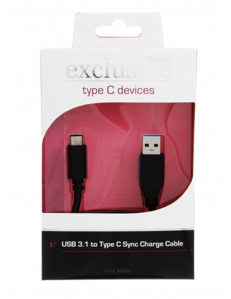 Insmat 1m USB 3.1-C/USB 3.0-A USB-kaapeli 3.2 Gen 2 (3.1 2) C A Musta Insmat 133-1015 - 2