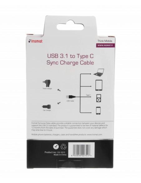 Insmat 1m USB 3.1-C/USB 3.0-A USB-kaapeli 3.2 Gen 2 (3.1 2) C A Musta Insmat 133-1015 - 3