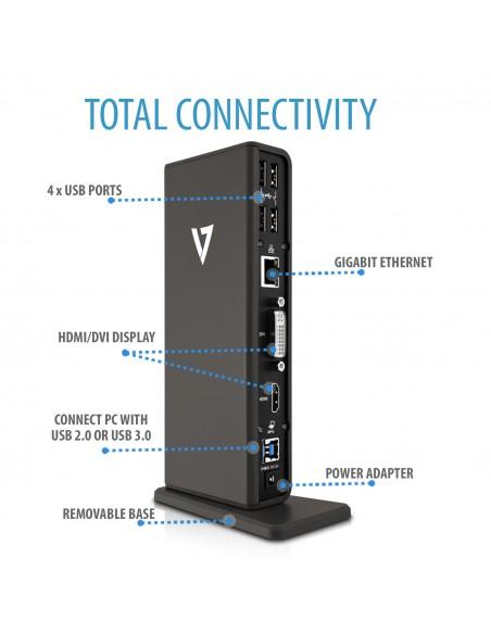 V7 UDDS-1E kannettavien tietokoneiden telakka ja porttitoistin Telakointi USB 3.2 Gen 1 (3.1 1) Type-A Harmaa Sonstige UDDS-1E -