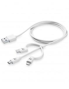Cellularline USBDATA3IN1MFITYCW matkapuhelimen kaapeli Valkoinen Micro-USB, USB -C, Lightning A 1.2 m Cellularline USBDATA3IN1MF