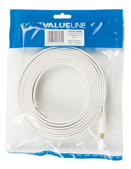 Valueline HDMI - HDMI, 3.0m HDMI-kaapeli 3 m HDMI-tyyppi A (vakio) Valkoinen Valueline VGVP34100W30 - 4
