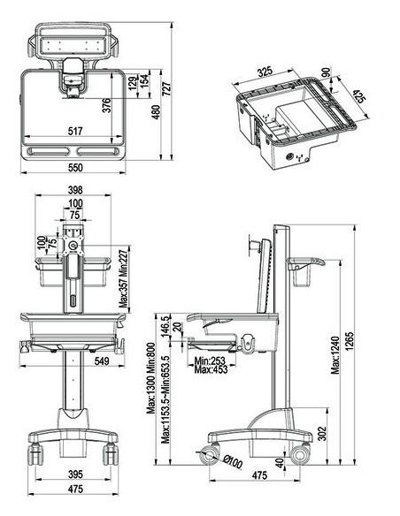 Multibrackets 0773 multimediavagnar & ställ Silver, Vit PC Multimediavagn Multibrackets 7350073730773 - 7
