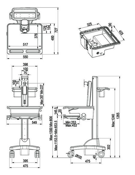 Multibrackets M Universal Workstation Cart DT Multibrackets 7350073730773 - 7