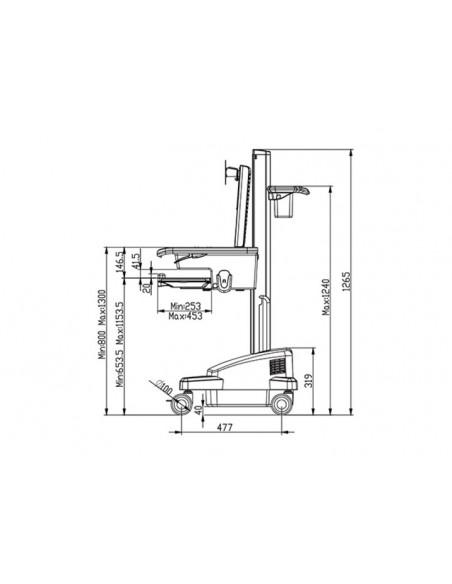 Multibrackets 0964 multimediavagnar & ställ Silver, Vit PC Multimediavagn Multibrackets 7350073730964 - 7
