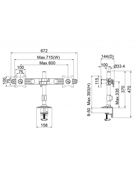 Multibrackets M Workstation Dual Arm DT Multibrackets 7350073734665 - 7