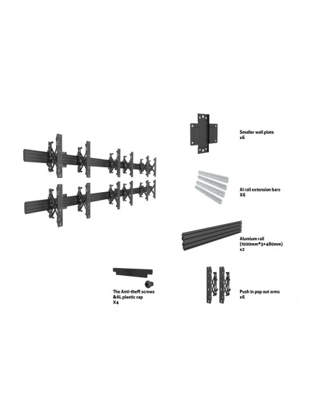 Multibrackets M Wallmount Pro MBW3x2U Push In Pop Out Black Multibrackets 7350073735006 - 7