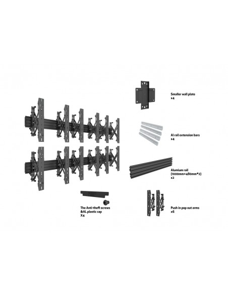 Multibrackets M Wallmount Pro MBW3x2UP Push In Pop Out Black Multibrackets 7350073735044 - 7