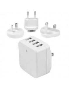 StarTech.com USB-väggladdare med fyra portar - internationell resa 34 W/6,8 A vit Startech USB4PACWH - 1
