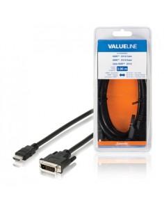 Valueline VLCB34800B30 videokaapeli-adapteri 3 m HDMI DVI-D Musta Valueline VLCB34800B30 - 1