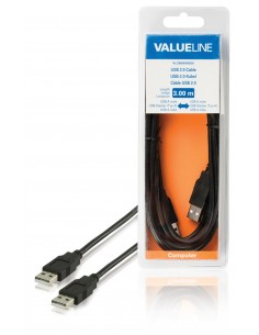 Valueline VLCB60000B30 USB-kaapeli 3 m 2.0 USB A Musta Valueline VLCB60000B30 - 1