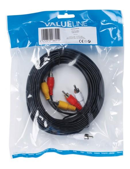 Valueline 10m 3xRCA m/m komposiittivideokaapeli Valueline VLVP24300B100 - 4