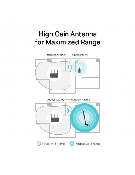 TP-LINK AC600 High Gain Wireless Dual Band USB Adapter WLAN 600 Mbit/s Sisäinen Tp-link ARCHER T2U PLUS - 5