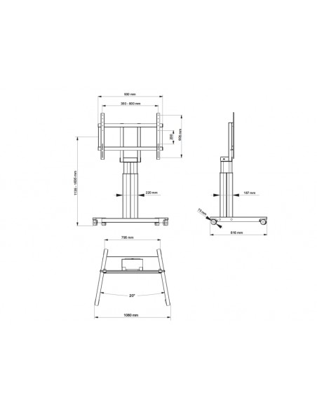 """Multibrackets 4580 kyltin näyttökiinnike 2.79 m (110"""") Musta Multibrackets 7350073734580 - 8"""