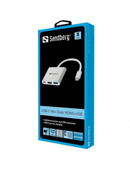 Sandberg USB-C Mini Dock HDMI+USB USB Type-C + Type-A HDMI Alumiini, Valkoinen Sandberg 136-00 - 2