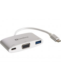 Sandberg USB-C Mini Dock VGA+USB USB Type-C + Type-A VGA (D-Sub) Alumiini, Valkoinen Sandberg 136-01 - 1