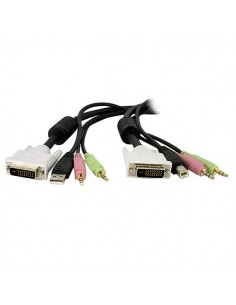 StarTech.com 15ft 4-in-1 USB Dual Link DVI-D KVM Switch Cable w/ Audio & Microphone Startech DVID4N1USB15 - 1