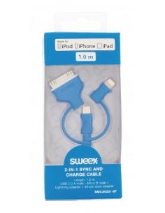 Sweex USB 2.0 / Micro-USB + Lightning 30-pin, 1 m USB-kaapeli A B Musta Sweex SMCA0331-07 - 1
