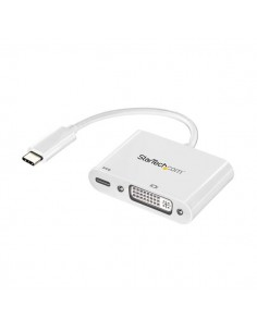 StarTech.com USB C to DVI Adapter with Power Delivery - 1080p Type-C DVI-D Single Link Video Display Converter w/ Charging 60W S