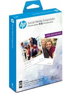 HP Social Media Snapshots Removable Sticky Photo Paper-25 sht/10 x 13 cm valokuvapaperi Valkoinen Puolikiiltävä Hp W2G60A - 1