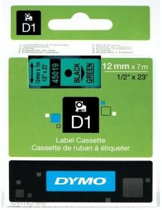 DYMO D1 - vakiopolyesteritarrat Musta vihreällä -12mm x 7m Dymo S0720590 - 1
