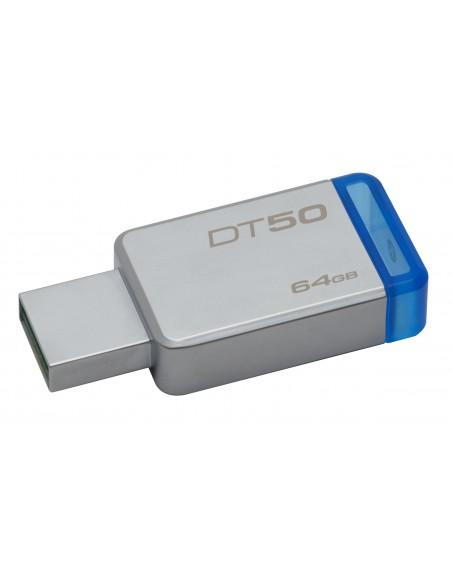 Kingston Technology DataTraveler 50 64GB USB-muisti USB A-tyyppi 3.2 Gen 1 (3.1 1) Sininen, Hopea Kingston DT50/64GB - 1