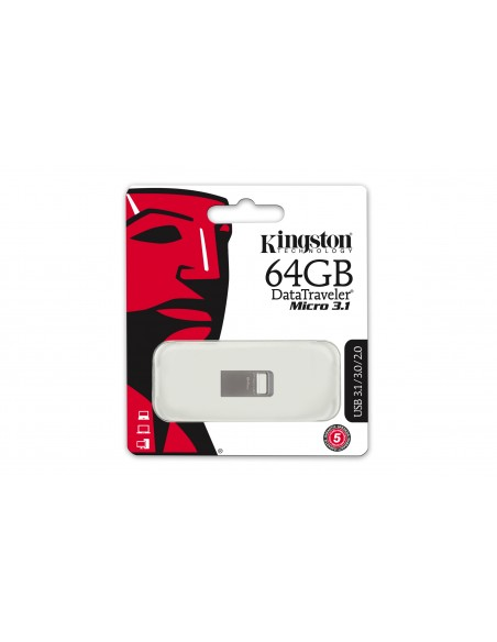 Kingston Technology DataTraveler Micro 3.1 64GB USB-muisti USB A-tyyppi 3.2 Gen 1 (3.1 1) Metallinen Kingston DTMC3/64GB - 2